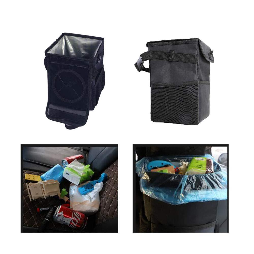 Car Trash Bag Car Organizer JU SHUN Foldable Car Bin Leakproof Oxford Back Hanging Trash Bag Anti-smell Car Bin with Lid and Side Pockets