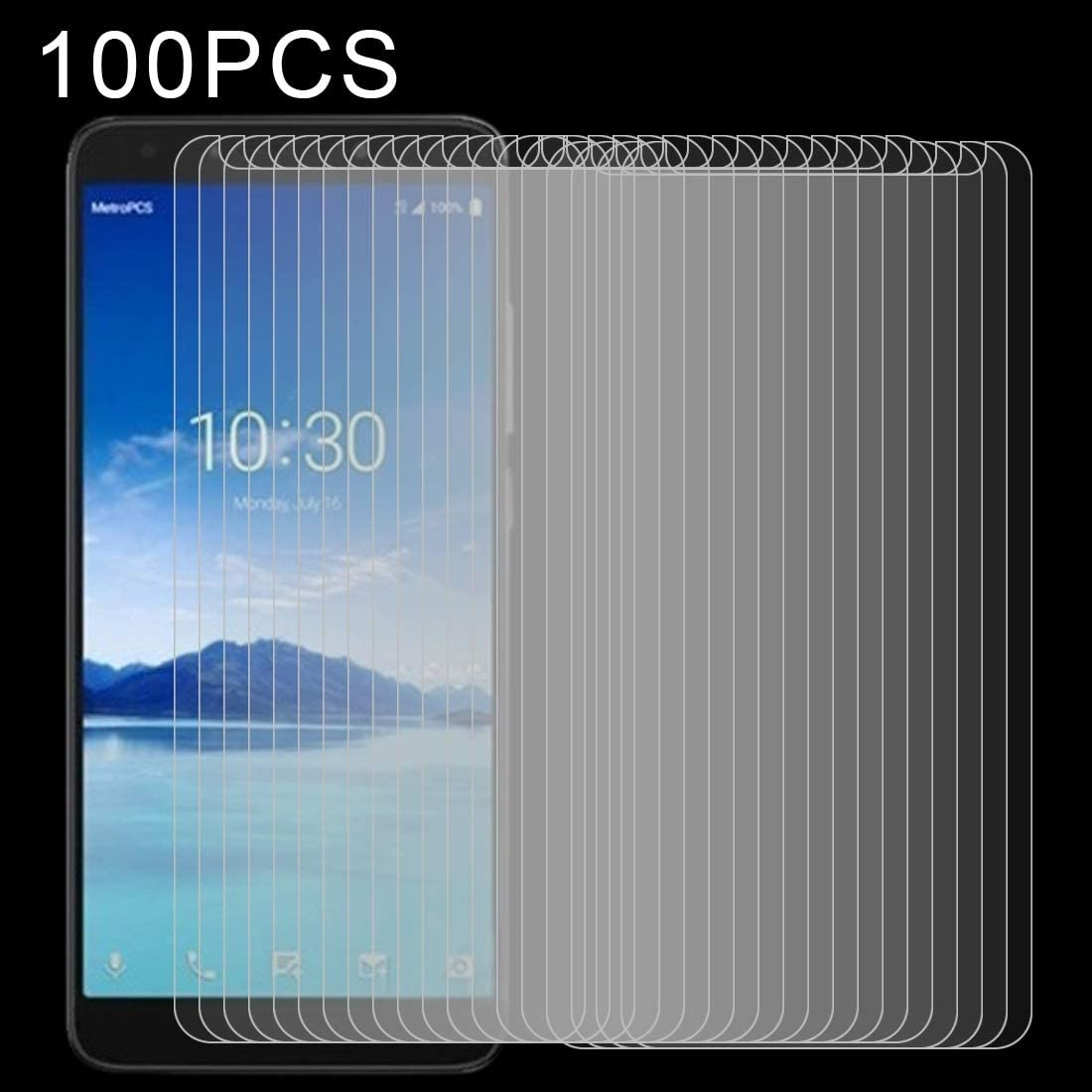 DESHENG Clear Screen Protector 100 PCS 0.26mm 9H 2.5D Explosion-Proof Tempered Glass Film for Alcatel 7 Glass Film