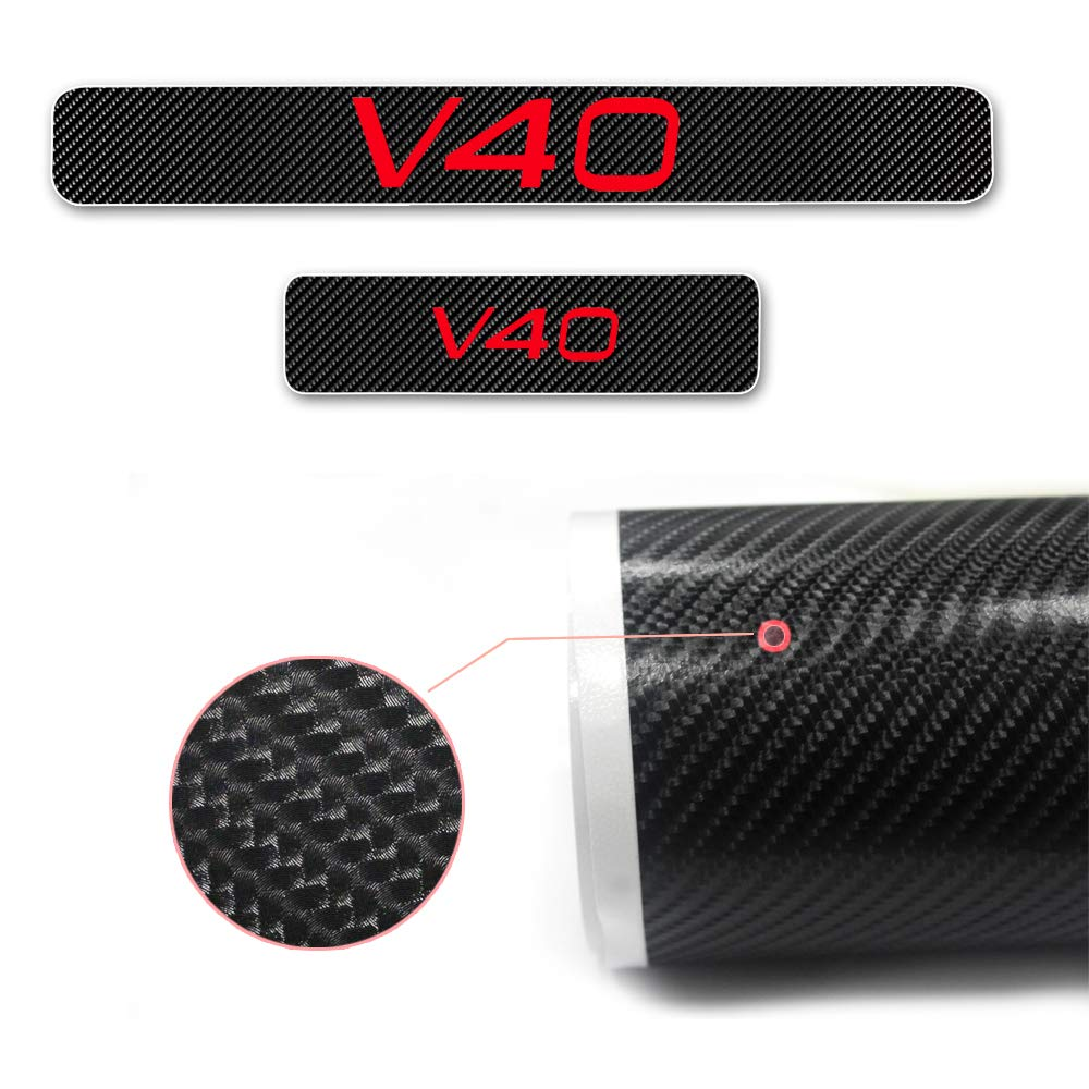 For V40 4D M Car Pedal Covers Door Sill Protectors Entry Guard Scuff Plate Trims Anti-Scratch Reflective Carbon Fiber Stickers Auto Accessories Exterior Styling 4Pcs Red