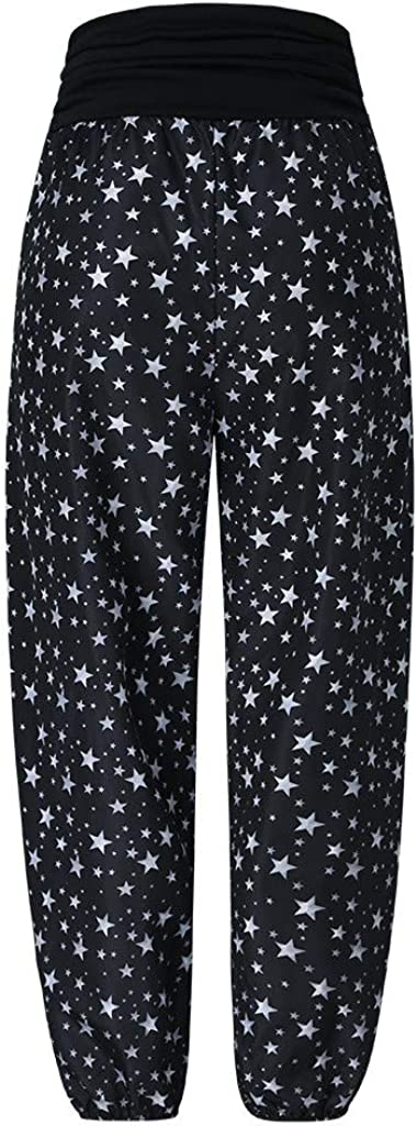 RTYou Womens Elastic Waist Harem Pants Star Printed Yoga Harem Pants for Women Baggy Boho High Waist Gyspy Pants