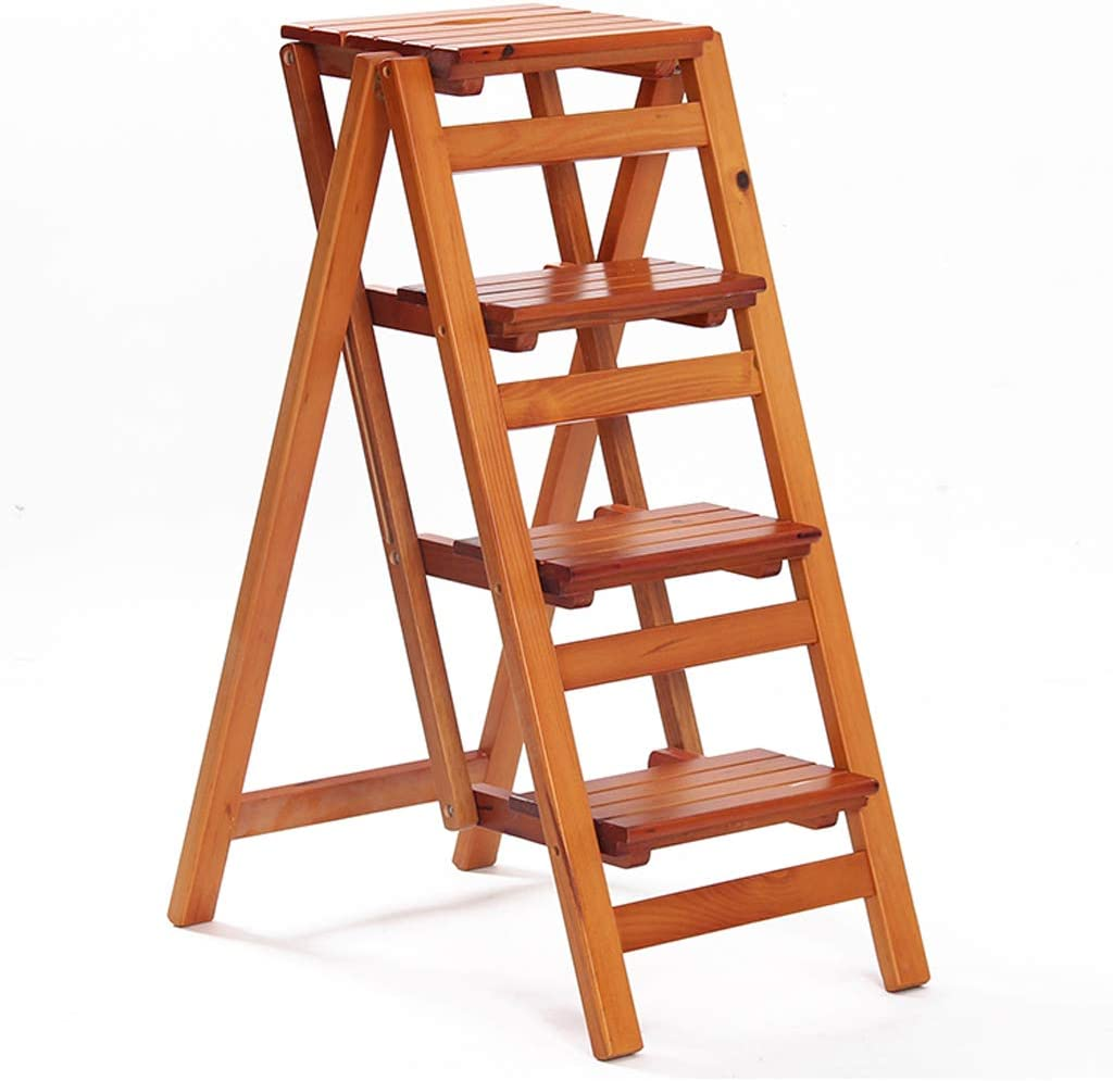 Plegable Escalera de Tijera Madera Taburete de 4 Pasos Interior De Madera Cocina Escaleras para Adultos y niños (Color: Madera Color - 92cm Altura): Amazon.es: Hogar
