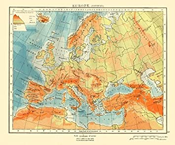 Amazoncom EUROPE PHYSICAL Relief Ocean Depths Key Mountains - Vintage europe map poster