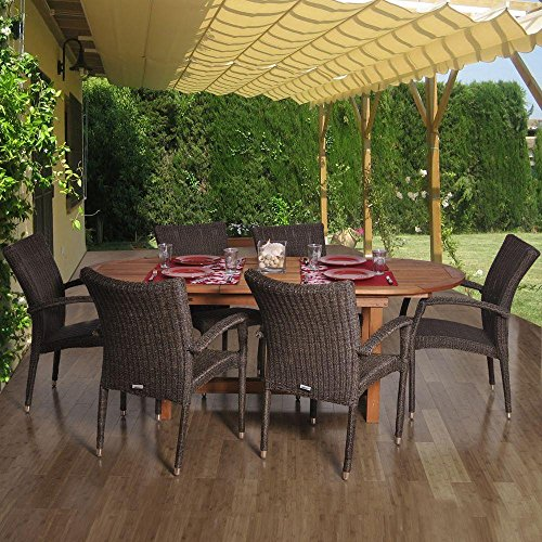 Amazonia Lemans 7-Piece Deluxe Dining Set