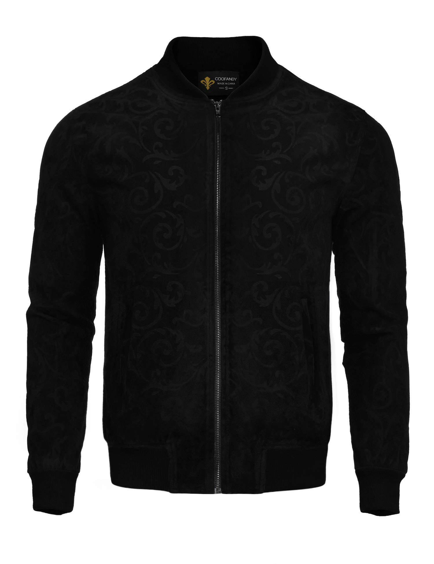 COOFANDY Men's Floral Suede Bomber Leather Jacket Casual Varsity Baseball Coat,Black,Medium