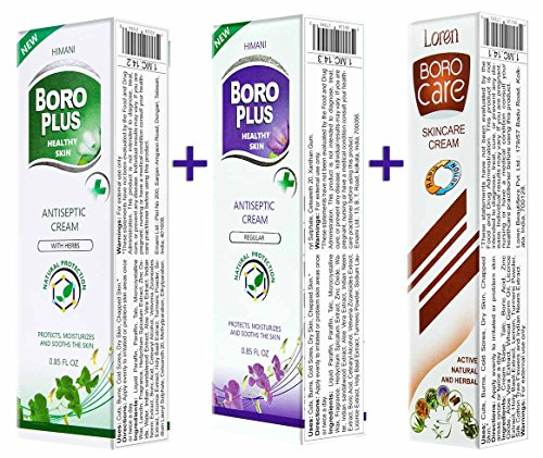 Bundle of 3 BORO Plus Creams (Cream with Herbs 25ml + Regular Cream 25ml + Boro Care Cream 25ml) (Best Dd Cream In India)