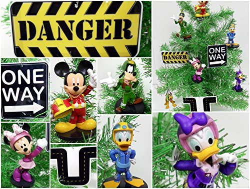 Mickey Mouse Clubhouse Roadster Racer 9 Piece Christmas Tree Ornament Set Featuring Mickey and Friends Racing Themed Ornaments