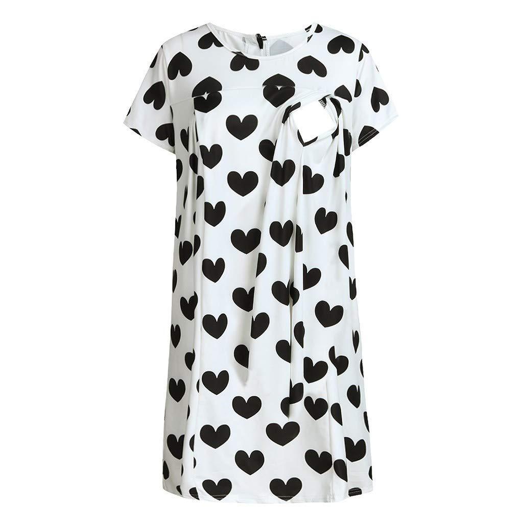Yaseking Womens Heart-Shaped Wave Point Short Sleeve Summer Maternity Nursing Breastfeeding Dress