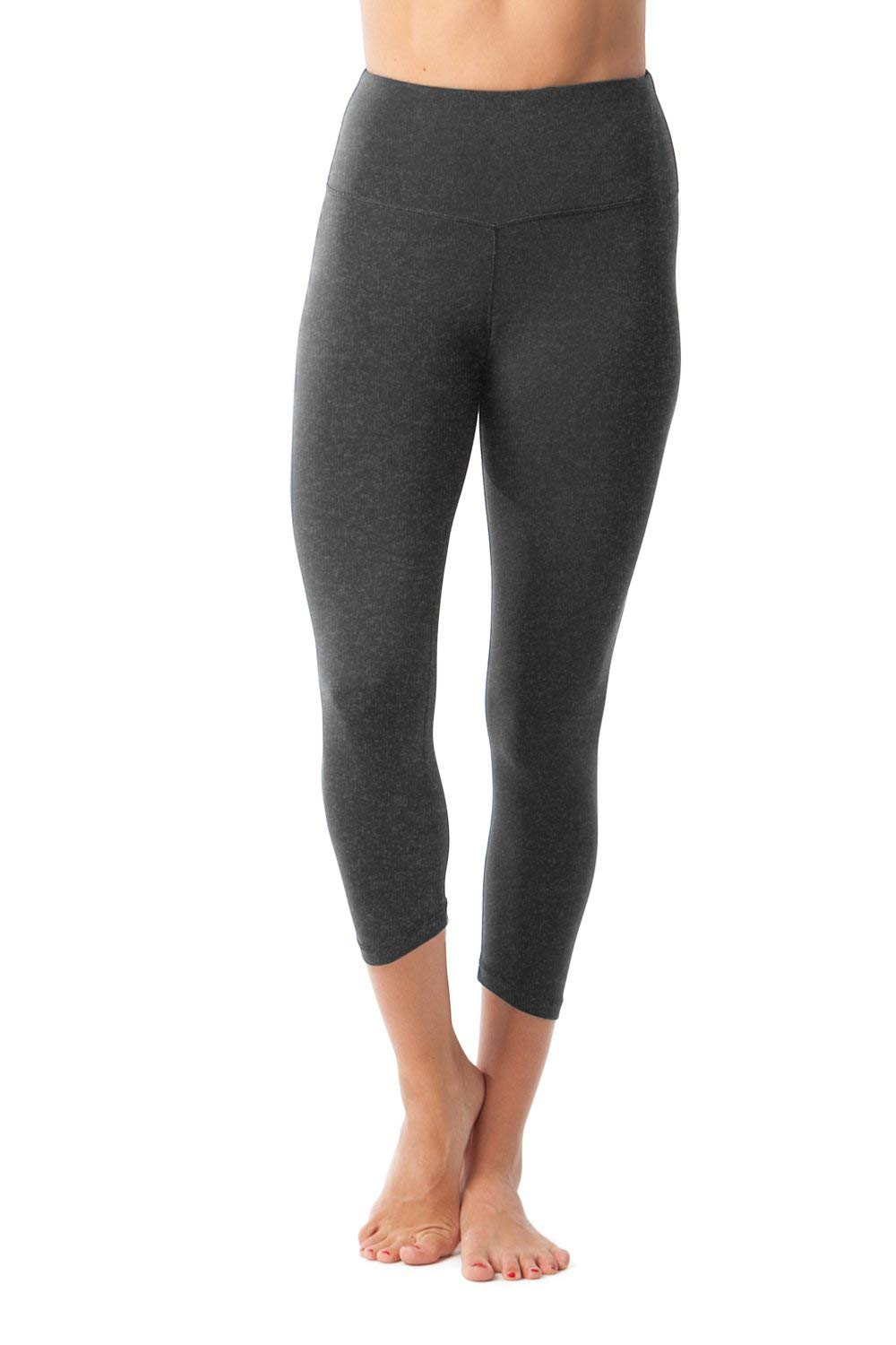 90 Degree By Reflex - High Waist Tummy Control Shapewear - Power Flex Capri Legging - Quality Guaranteed - Heather Charcoal XS by 90 Degree By Reflex