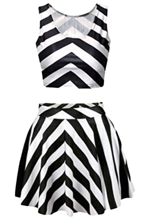 3b860624438 Pink Queen Black and White Stripes Two Piece Digital Skater Skirt and Tank  Tops for Women
