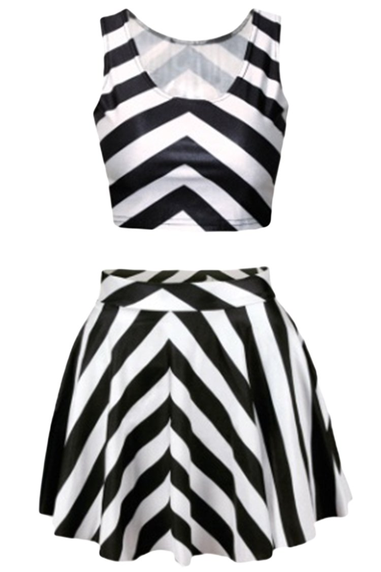Pink Queen Black and White Stripes Two Piece Digital Skater Skirt and Tank Tops for Women