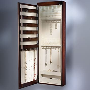Amazoncom The 45 Wall Mounted Lighted Jewelry Armoire Cherry