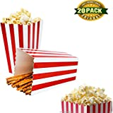 Popcorn boxes, Classic Popcorn Containers Paper Bags Stripe Box for Party Favor Thanksgiving Day Christmas Present, 24 PCS