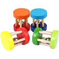 Domybest Baby Wooden Bell Rattles Colorful Music Intellectual Development Education Toys (Random Color Pattern)