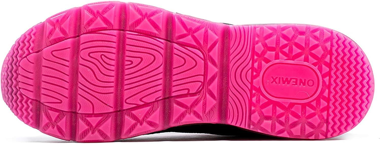 ONEMIX Basket Homme Femme Chaussures de Course Air-Cushion Running Sneakers Réflexions Colorées Fitness Gym Sport Chaussures Noir Rose