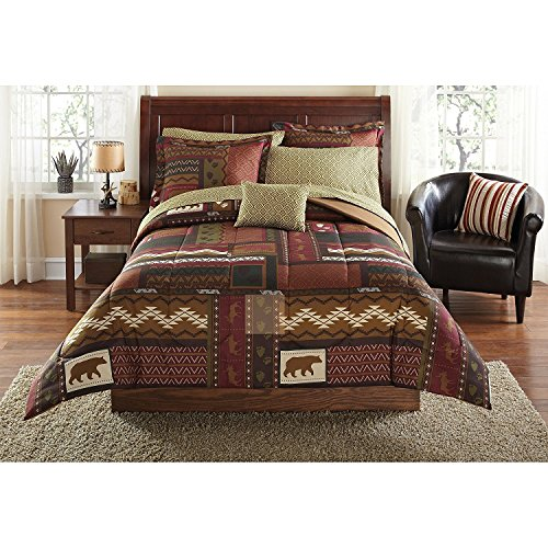 - OSD 8pc Brown Wildlife Hunting Geometric Patchwork Theme Full Comforter Set, Outdoor Rustic Stylish Country Cabin Lodge Pattern, Bear Moose Deer, Vibrant Colors, Textured Bedding