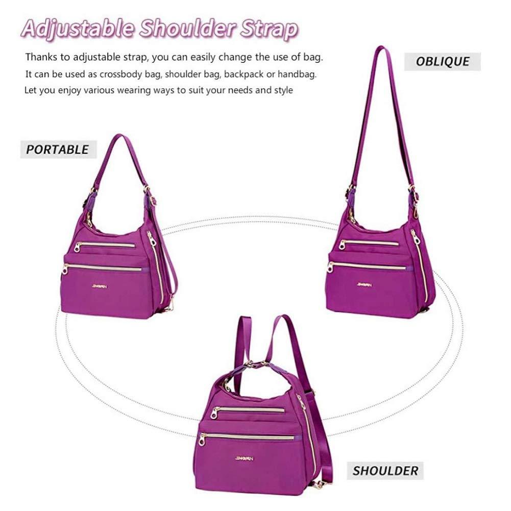 DGYAXIN vattentäta handväskor för kvinnor vardagliga axelväskor med flera fickor, blixtlåsstängning, flera sätt att använda, för arbete shopping skola camping vandring BLÅ