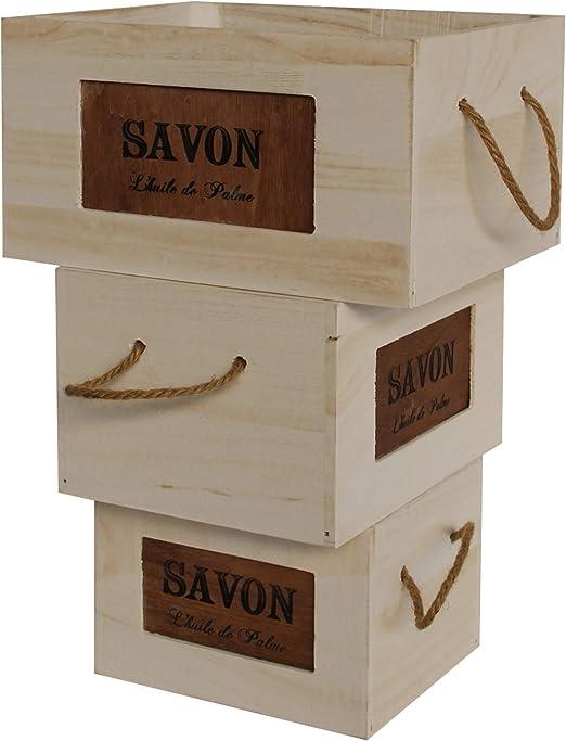 Rebecca Mobili Set 3 Cestas Cajas Madera Shabby Porta Souvenirs ...