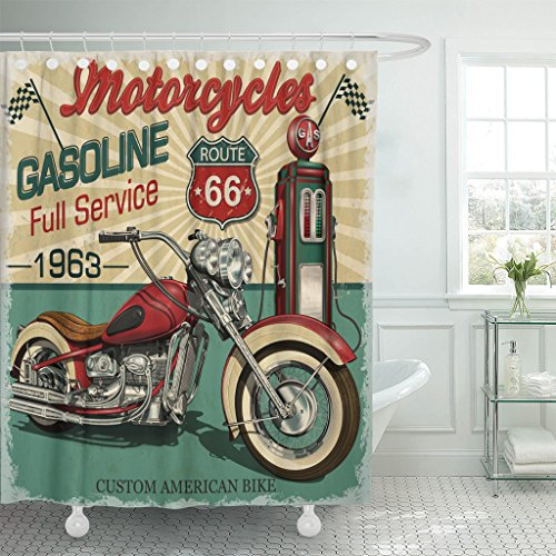 TOMPOP Shower Curtain Retro Vintage Gasoline Route 66 Classic Motorcycles Biker Moto Waterproof Polyester Fabric 60 x 72 Inches Set with Hooks -
