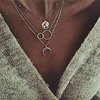 HGDS Collar con Colgante de Mapa geométrico para Mujer, Collar de Gargantilla de Collares de corazón Multicapa de Color…