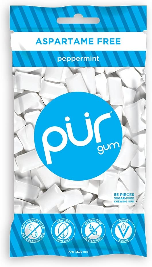 PUR 100% Xylitol Chewing Gum, Sugarless Peppermint