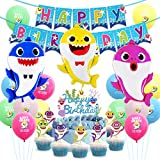 Baby Shark Party Supplies Birthday Decorations Baby Shark Balloons Cupcake Topper Happy Birthday Banner for Kids 1st 2nd Birthday