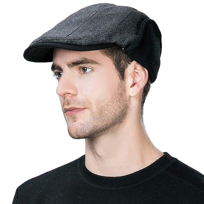 e2da4acb77d0d Siggi Mens Irish Wool Duckbill Ivy Flat Cap Newsboy Gatsby Driver Winter Hat  (3 Colors