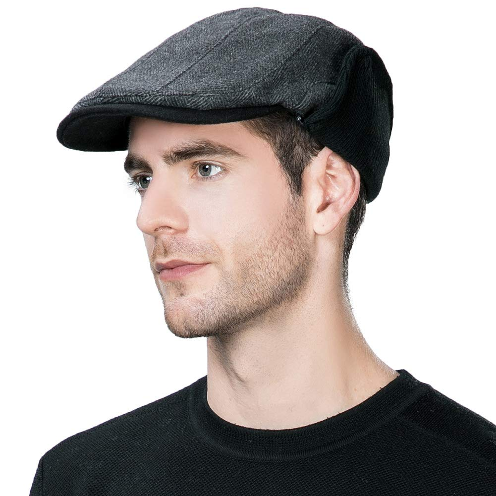 Siggi Mens Irish Wool Duckbill Ivy Flat Cap Newsboy Gatsby Driver Winter Hat  (3 Colors 7bb9d3285a61