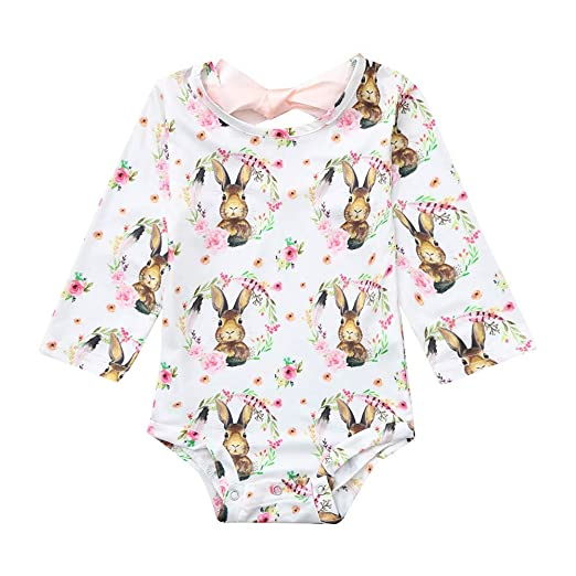 38ab2f399 Lookvv Infant Baby Toddler Girl Easter Outfit Long Sleeve Animal Pattern  Bodysuit 3-6 Months