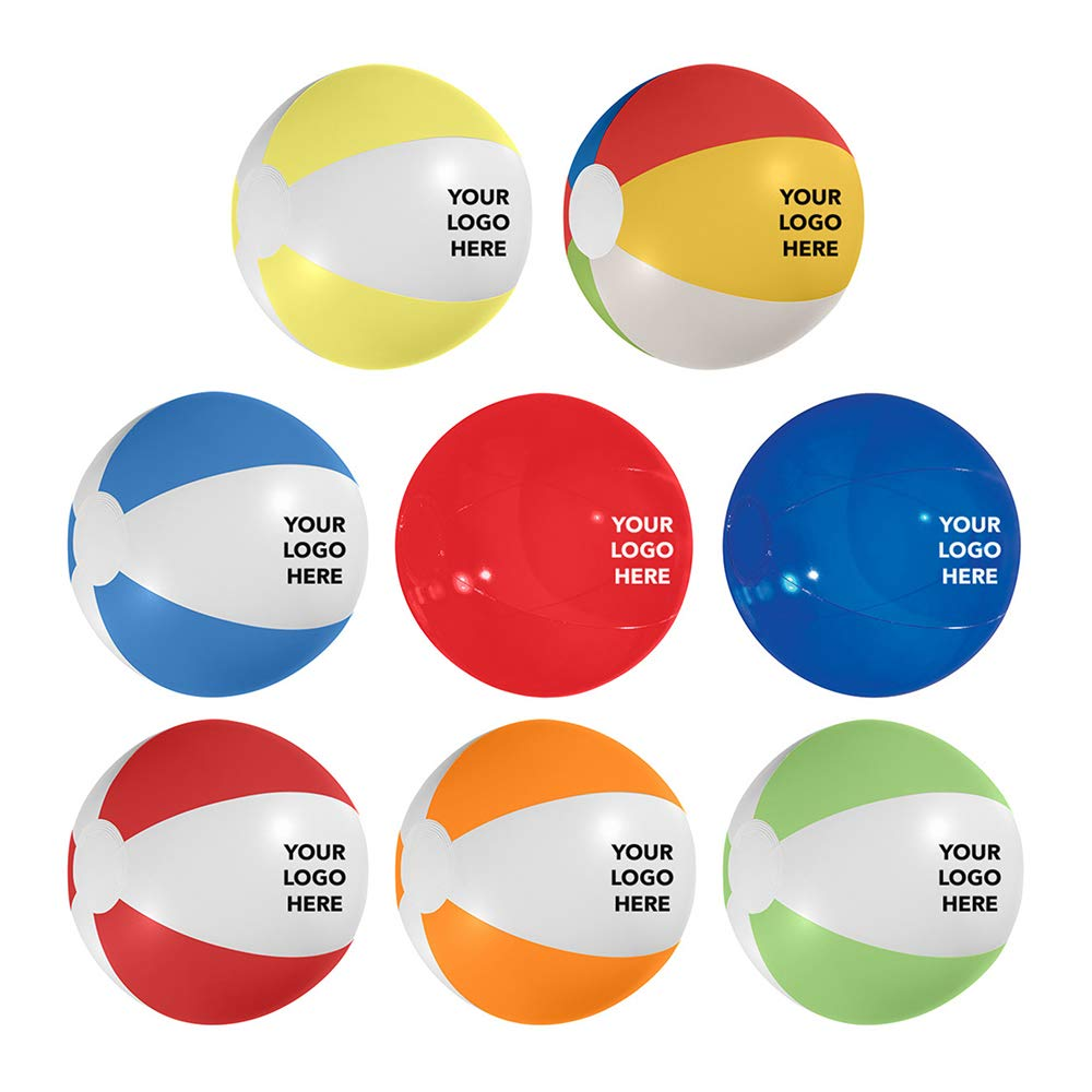 HiTouch Business Services #751 12-Inch Beach Ball - 75 Qty - $1.15 EA - Promotional Product/Custom/Your Logo/Low Minimums, Multi-Color: Yellow White Blue Red Green by HiTouch Business Services