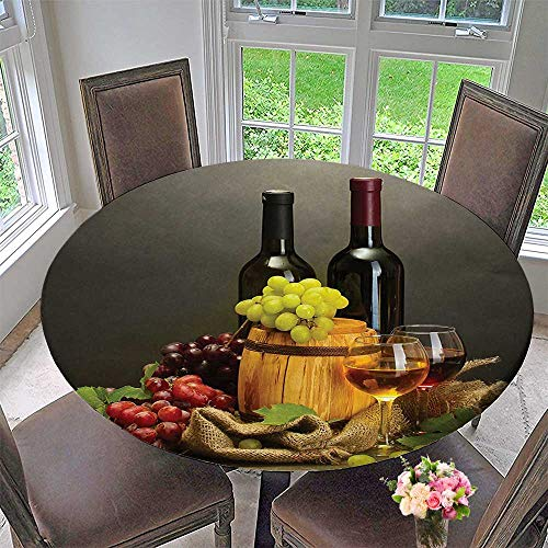 (Mikihome Round Fitted Tablecloth Barrel Bottles and Glasses of Wine and Ripe On Wooden Tableative for All Occasions 59