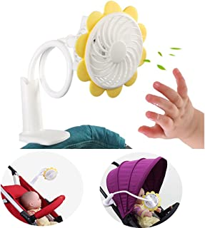 Baby Stroller Fan - BenchMart Rechargeable Portable Clip Baby Stroller Cooling Fan with Flexible Neck Adjustable Speed for Baby Strollers, Cribs, Working Desk, Bed, Car and More, Sunflower Shape
