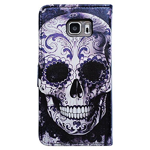 Bfun Packing Bcov Cool Floral Skull Leather Wallet Cover Case For Samsung Galaxy S7 (Skull Cover Case)