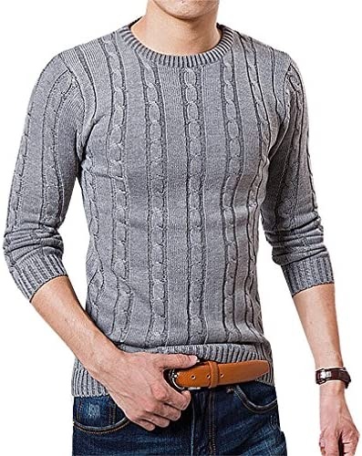 BAMan Men Solid Color Cable Knit Rib Cuff Round Neck Close