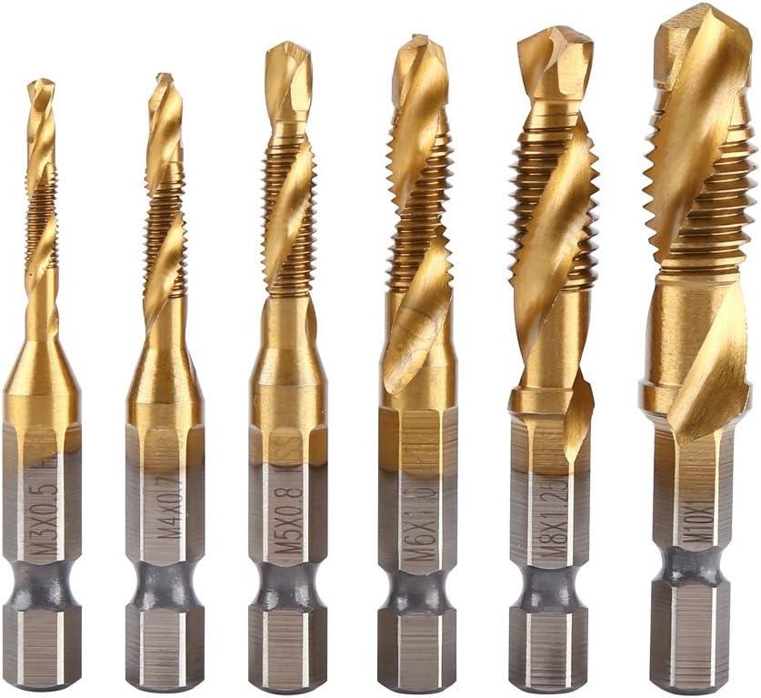 Tap Bit Set-6pcs Metric Thread M3-M10 Titanium Coated HSS Drill and Tap Bits,1//4 Hex Shank