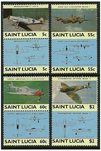 World War 2 fighter planes stamp pairs - 8 stamps in 4 pairs issued in 1985 Saint Lucia / Mint and unmounted / Imperforated ()