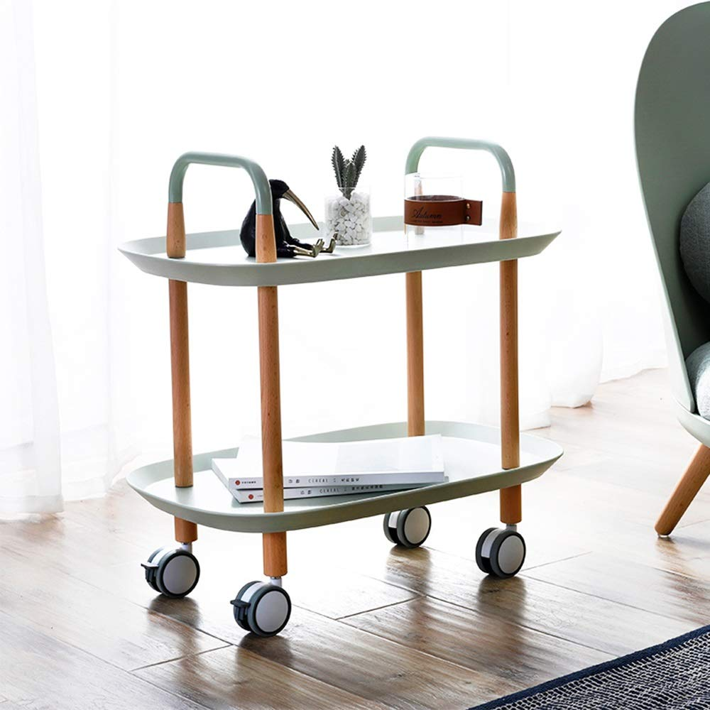 Bordsbord ZR – portable sofa sidobord hörnbord multifunktionell liten bil 3 lager förvaringshylla 57,5 x 37 x 59 cm möbler (färg: Grön) GRÖN