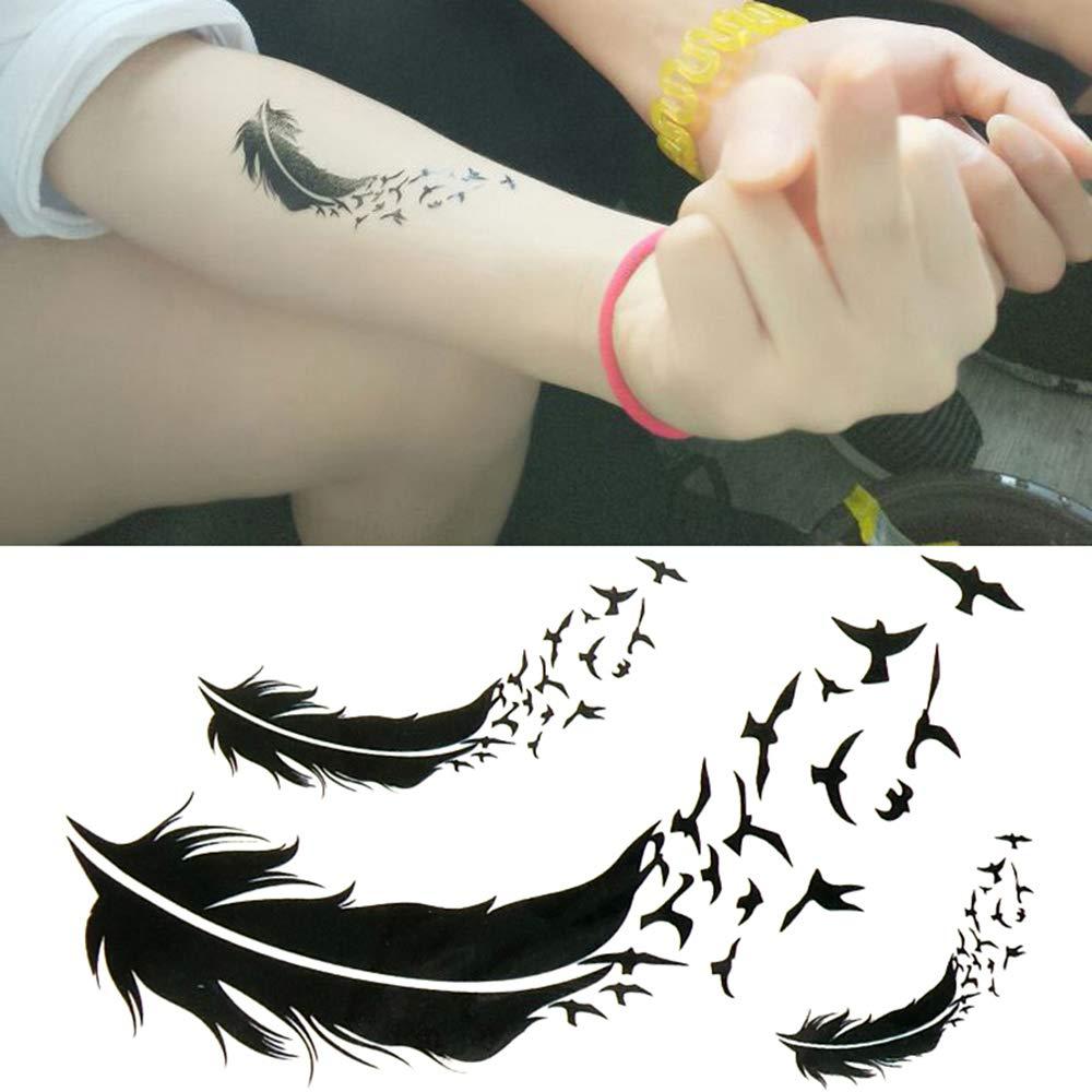 Oottati Pequeño Lindo Tatuaje Temporal Pájaros Plumas Negras (2 ...