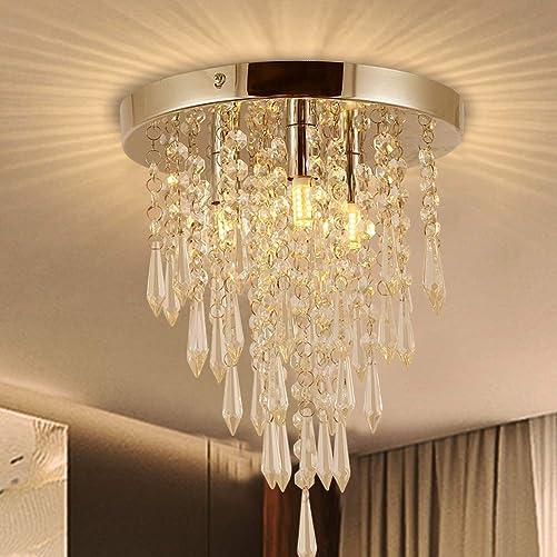 Garwarm Crystal Chandelier,Mini Chandelier, Modern Crystal Ceiling Light,3-Lights Flush Mount Ceiling Light for Bedroom,Hallway,Bar, Kitchen,Cloakroom,Bathroom,H 10.4 X Dia 9.8