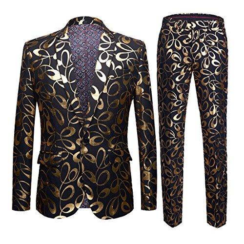 Men Fashion Gold Floral Pattern Two-Piece Set Casual Suits(Jacket + Pants) (FV04, US 36R) -