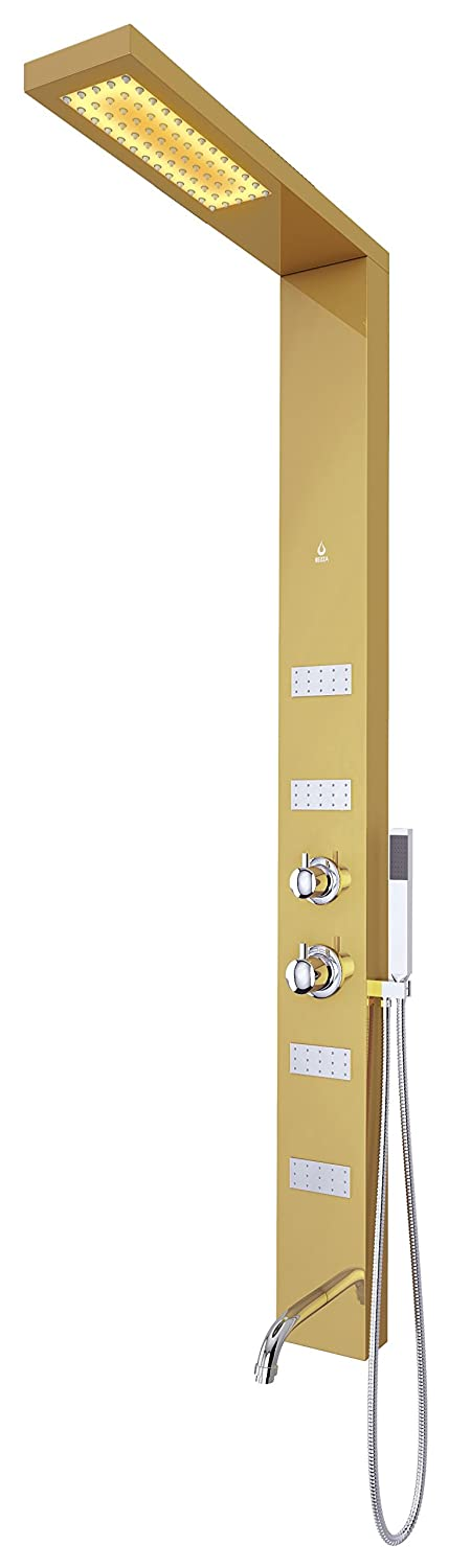 Hand Shower and Four Body Jets Mirror Finish Gold Gold//NLP-003-001-GD-BL Nezza Handshower NLP-003-001-GD-BL Sia LED Panel with Spout