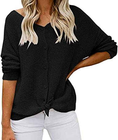 Womens Sweater Tunic,Pullover Knitted Half Zip Loose Solid V-Neck Knitwear Casual Long Sleeve Jumpers Blouse