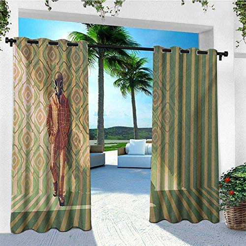 leinuoyi Fantasy, Outdoor Curtain Wall, Myserious Fashion Man with Gas Mask Fancy Suit Before Retro Wall Kitsch Artwork, for Balcony W84 x L96 Inch Orange Green