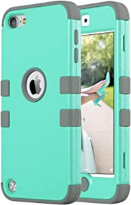 ULAK iPod Touch 7 Case, 3 in 1 Hard PC Case with Shockproof Silicone Interior Heavy Duty High Impact Dual Layer Protective Case for Apple iPod Touch 7th/6th/5th Generation (Mint Gray)