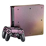 eXtremeRate Purple and Gold Chameleon Full Faceplates Skin Console & Controller Decal Covers for PlayStation 4 PS4 Slim