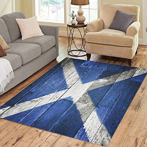 (Semtomn Area Rug 5' X 7' Blue Scottish Scotland Flag on Old Wood Saltire Scottland Home Decor Collection Floor Rugs Carpet for Living Room Bedroom Dining Room)
