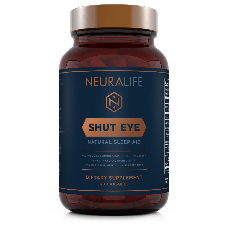 Shut Eye | Natural Herbal Sleep Aid | 60 Non-Habit Forming Vegan Capsules | Herbal Sleeping Supplement Made with Valerian Root, Melatonin, Chamomile, Magnesium | Anxiety Relief | Adult Sleeping Pills
