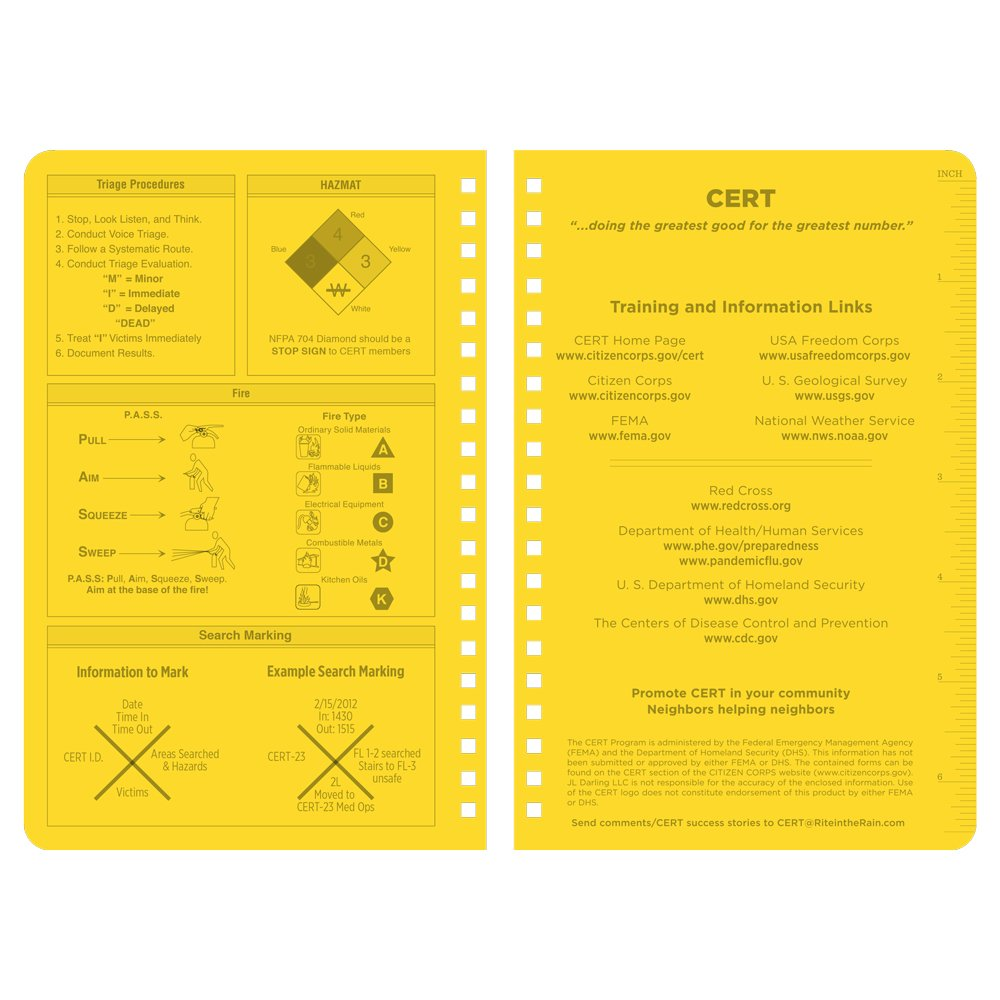 Rite in the Rain Weatherproof Side-Spiral Notebook, 4 5/8'' x 7'', Yellow Cover, CERT Field Operator's Guide FOG (No. 573)