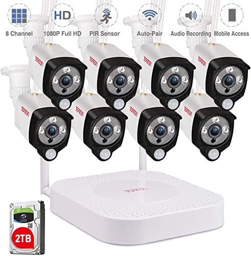 Audio Recording Tonton 1080P Full HD Security Camera System Wireless,8CH NVR Recorder