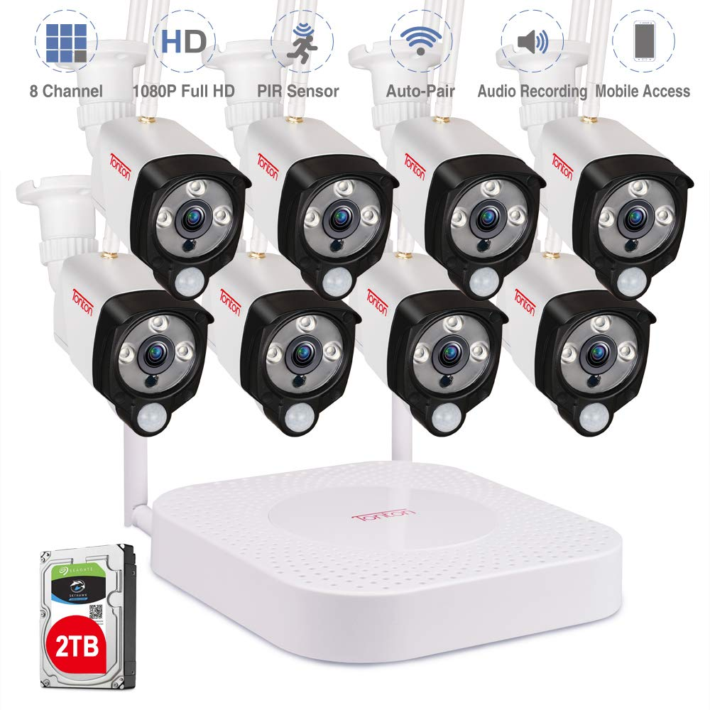 [Audio Recording] Tonton 1080P Full HD Security Camera System Wireless,8CH NVR Recorder with 2TB HDD and 8PCS 2.0 MP Outdoor Indoor Bullet Cameras with PIR Sensor, Plug and Play,Easy Installation by Tonton
