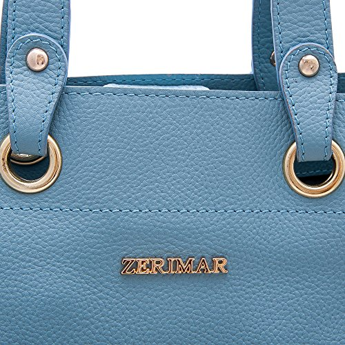 Zerimar Bolsos Mujer | Piel de alta Calidad | Bolso Señora | Bolso de Mano | Bolso Grande | Bolso Pequeño | Múltiples compartimentos | Medidas: 38x30x10 cms Celeste